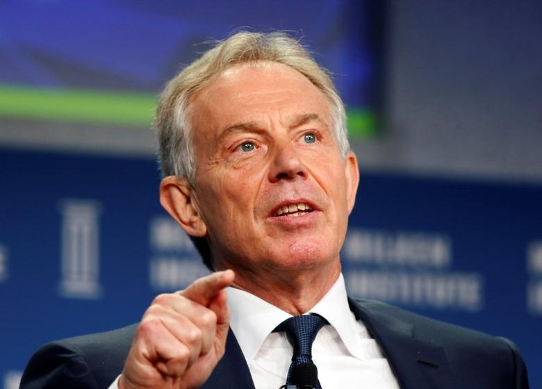 Former British Prime Minister Tony Blair speaks at the 2014 Milken Institute Global Conference in Beverly Hills, California April 28, 2014. REUTERS/Lucy Nicholson