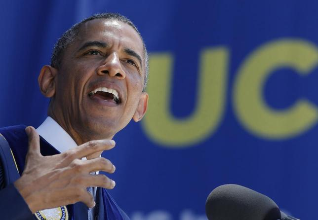 U.S. President Barack Obama speaks during the commencement ceremony for the University of California, Irvine at Angels Stadium in Anaheim, California June 14, 2014. REUTERS/Larry Downing