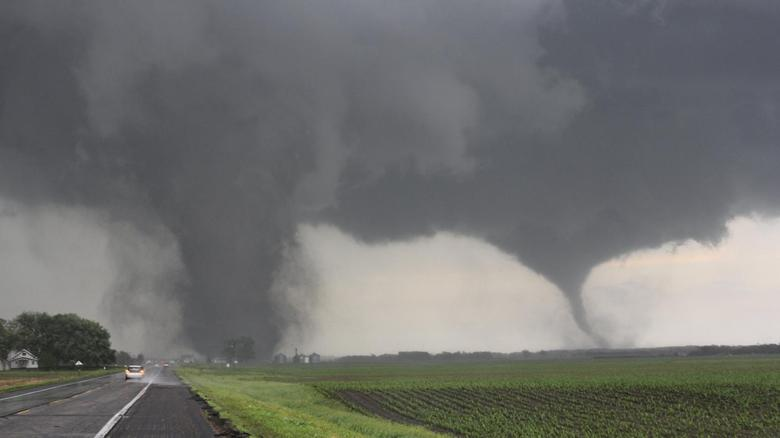 Two tornadoes touch down near Pilger, Nebraska June 16, 2014. REUTERS/Dustin Wilcox/TwisterChasers