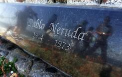 A view of the tombstone of Chilean poet and Nobel laureate Pablo Neruda inside the grounds of his house-museum before the exhumation of his remains in the coastal town of Isla Negra, about 106 km (66 miles) northwest of Santiago April 7,  2013. REUTERS/Eliseo Fernandez