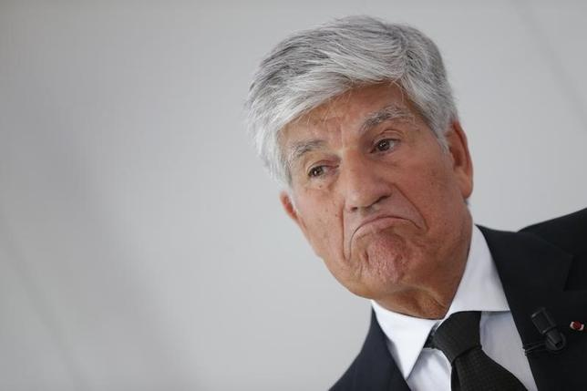 Maurice Levy, French advertising group Publicis Chief executive, reacts as he attends a joint news conference with Omnicom Group head, in Paris, July 28, 2013.  REUTERS/Christian Hartmann