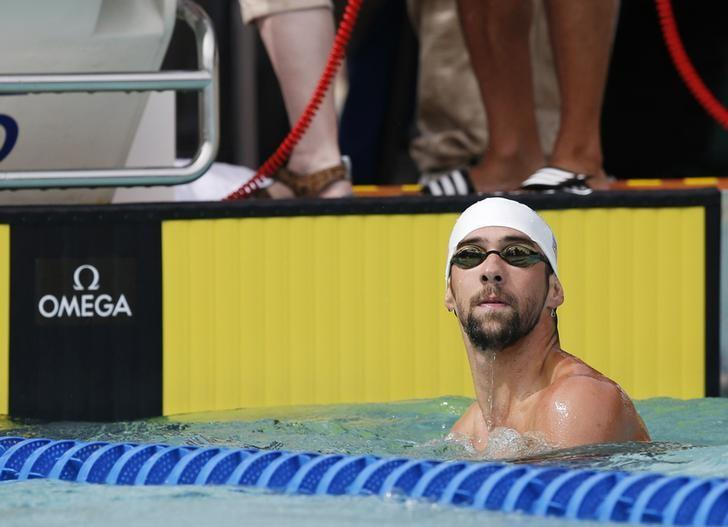 Jun 21, 2014; Santa Clara, CA, USA; Michael Phelps of NBAC-MD after completing his heat of Men's 200 Free during the preliminary heats at George F. Haines International Aquatic Center. Mandatory Credit: Bob Stanton-USA TODAY Sports