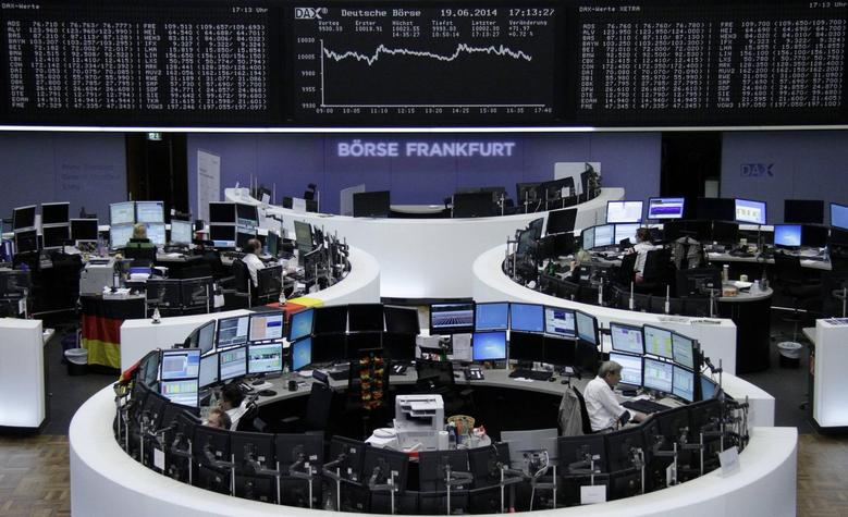 The curve of the German share price index DAX board, is pictured at the Frankfurt stock exchange June 19, 2014.    REUTERS/Remote/Stringer