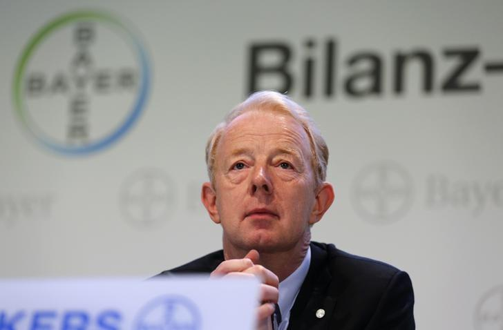 Bayer Management Board Chairman Marijn Dekkers looks on at a news conference in Leverkusen February 28, 2014. REUTERS/Ina Fassbender