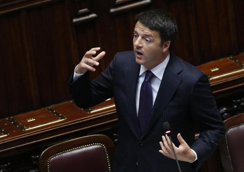 Italian Prime Minister Matteo Renzi delivers his speech at the Italian Parliament ahead of Italy's European Union presidency in Rome June 24, 2014. REUTERS/Remo Casilli