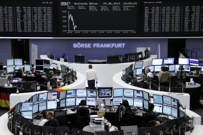 The curve of the German share price index DAX board, is pictured at the Frankfurt stock exchange June 24, 2014.    REUTERS/Remote/Stringer