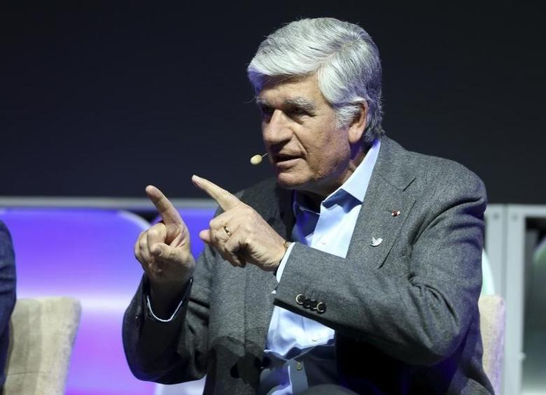 Maurice Levy, chairman and CEO of Publicis Groupe, gestures during a panel discussion at the annual Consumer Electronics Show (CES) in Las Vegas, Nevada January 8, 2014. REUTERS/Robert Galbraith