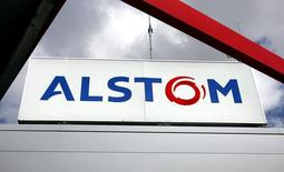 The logo of Alstom is seen on the entrance of Alstom plant in Aytre near La Rochelle, southwest France August 24, 2006. REUTERS/Regis Duvignau
