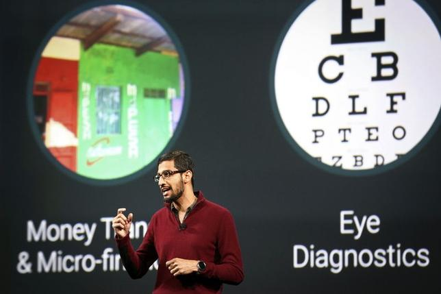 Sundar Pichai, Google's senior vice president of Android, Chrome and Apps, speaks during his keynote speech at the Google I/O developers conference in San Francisco June 25, 2014.   REUTERS/Elijah Nouvelage