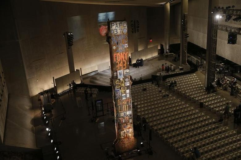 The Last Column of the World Trade Center is seen inside the Foundation Hall section of the National September 11 Memorial & Museum during a media preview in New York May 14, 2014. REUTERS/Shannon Stapleton