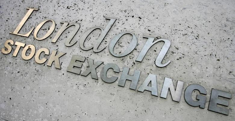 Signage is seen on the London Stock Exchange building in central London on May 21, 2008.  REUTERS/Luke MacGregor
