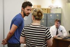 Shia LaBeouf (L), is arraigned in Midtown Community Court in New York June 27, 2014.   REUTERS/Anthony DelMundo/Pool