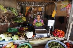 Una vendedora posa en su puesto de verduras y frutas en la ciudad de Gosen, en las afueras de Lima, 21 de marzo de 2014. La inflación en Perú se desaceleró en junio por cuarto mes consecutivo, a un 0,16 por ciento, debido a que la baja en los costos de transporte y comunicaciones atenuó en parte el avance de los precios de los alimentos, dijo el martes el Gobierno. REUTERS/Mariana Bazo