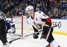 Ottawa Senators center Jason Spezza (19) reacts after he scores the game winning shootout goal during the third period against the Tampa Bay Lightning at Tampa Bay Times Forum. Ottawa Senators defeated the Tampa Bay Lightning 4-3 in a shootout. Mandatory Credit: Kim Klement-USA TODAY Sports