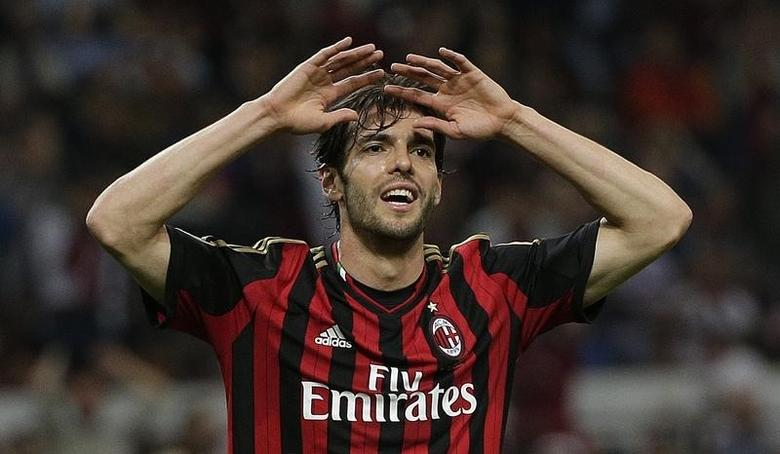 AC Milan's Kaka reacts during the Italian Serie A soccer match against Inter Milan at San Siro stadium in Milan May 4, 2014. REUTERS/Max Rossi