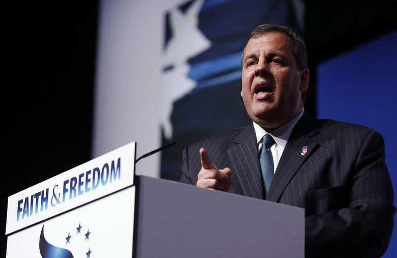 New Jersey Governor Chris Christie gestures during the second day of the 5th annual Faith & Freedom Coalition's ''Road to Majority'' Policy Conference in Washington, June 20, 2014.     REUTERS/Larry Downing