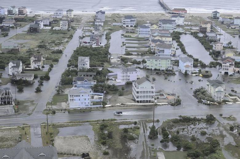 Flooding from Hurricane Arthur is pictured on the Outer Banks of North Carolina in this July 4, 2014 aerial handout photo provided by the U.S. Coast Guard. REUTERS/U.S. Coast Guard/Handout via Reuters