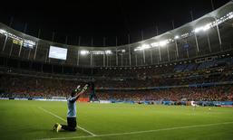 Goleiro da Costa Rica, Keilor Navas, durante cobranças de pênaltis contra a Holanda, na Arena Fonte Nova, em Salvador. 5/7/2014 REUTERS/Sergio Moraes