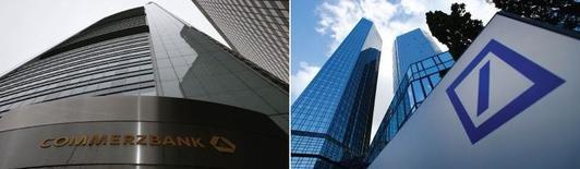 Les banques allemandes Commerzbank et Deutsche Bank négocient avec les autorités américaines en vue d'arrangements financiers visant à mettre fin à des enquêtes sur des transactions financières avec des pays sous embargo. /Photos d'archives/REUTERS/Ralph Orlowski