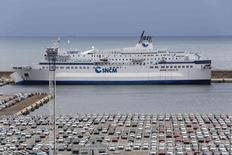"The car ferry ""Corse"" operated by the SNCM (National Maritime Corsica-Mediterranean company) is seen in the port of Marseille July 7, 2014.   REUTERS/Philippe Laurenson"