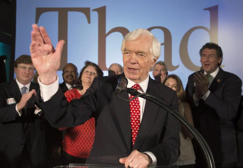 Republican U.S. Senator Thad Cochran addresses supporters during an election night celebration after defeating Tea Party challenger Chris McDaniel in a run-off election in Jackson, Mississippi June 24, 2014. REUTERS/Lee Celano