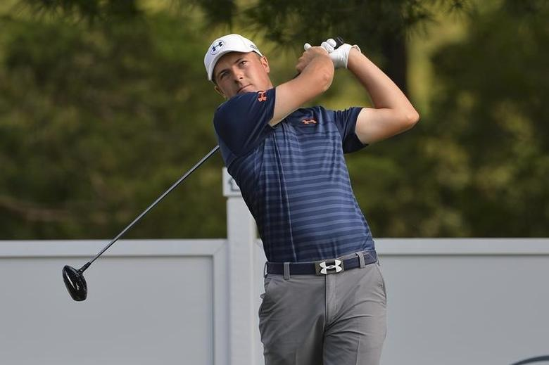 Jordan Spieth hits his tee shot on the 16th  hole during the first round of the Quicken Loans National golf tournament at Congressional Country Club - Blue Course.Jun 26, 2014; Bethesda, MD, USA;Tommy Gilligan-USA TODAY Sports