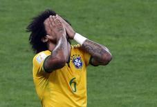 Marcelo durante jogo do Brasil contra a Alemanha em Belo Horizonte. 08/07/2014 REUTERS/David Gray
