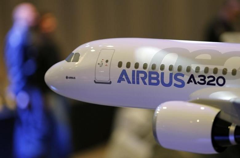 A scale model of an A320 Airbus is displayed during the Airbus annual press conference in Colomiers, near Toulouse, January 13, 2014. REUTERS/Regis Duvignau