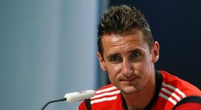 Germany's national soccer team player Miroslav Klose attends a news conference in the village of Santo Andre north of Porto Seguro July 10, 2014.  REUTERS/Arnd Wiegmann (BRAZIL  - Tags: SOCCER SPORT WORLD CUP)