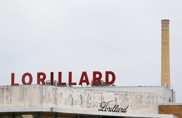 The Lorillard corporate sign is seen atop their cigarette manufacturing plant in Greensboro, North Carolina May 23, 2014. REUTERS/Chris Keane