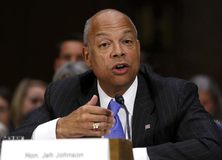 U.S. Homeland Security Secretary Jeh Johnson testifies before a Senate Appropriations hearing on ''Review of the President's Emergency Supplemental Request for Unaccompanied Children and Related Matters'' on Capitol Hill in Washington July 10, 2014. REUTERS/Yuri Gripas