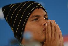 O jogador da seleção brasileira de futebol Thiago Silva concede entrevista coletiva no Estádio Nacional Mané Garrincha, em Brasília, nesta sexta-feira. 11/07/2014 REUTERS/Ueslei Marcelino
