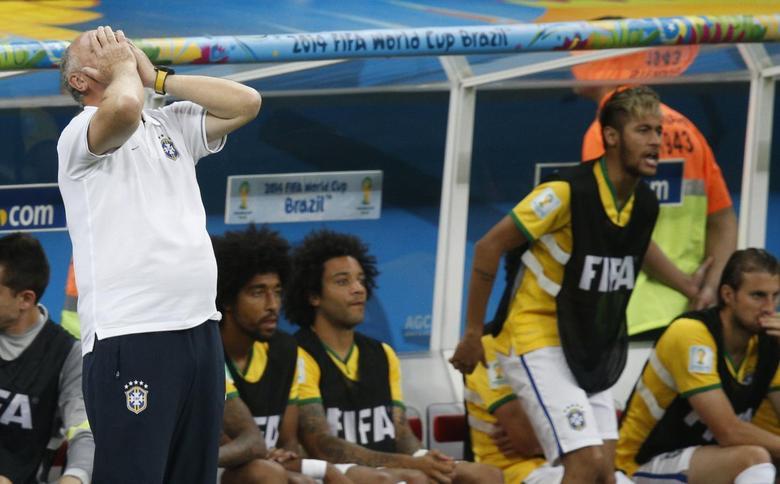 Brazil's coach Luiz Felipe Scolari reacts as his team plays against the Netherlands. REUTERS/Ueslei Marcelino