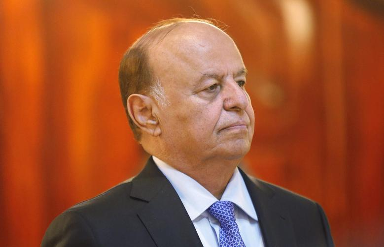 Yemen's President Abdu Rabbu Mansour Hadi stands during a reception ceremony on the occasion of the holy fasting month of Ramadan at the Republican Palace in Sanaa July 7, 2014. REUTERS/Khaled Abdullah