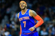 Feb 22, 2014; Atlanta, GA, USA; New York Knicks small forward Carmelo Anthony (7) celebrates after shooting a three in the second half against the Atlanta Hawks at Philips Arena. The Hawks won 107-98. Mandatory Credit: Daniel Shirey-USA TODAY Sports