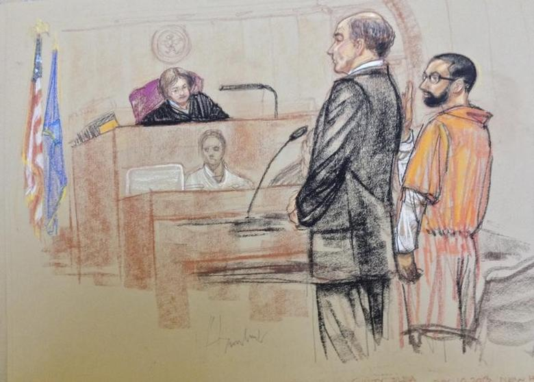 Syed Talha Ahsan (R), a British national accused of operating a website that promoted jihad and supported al Qaeda, is pictured as he plead guilty in this courtroom sketch in U.S. District Court in New Haven, Connecticut December 10, 2013 file photo. REUTERS/Janet Hamlin