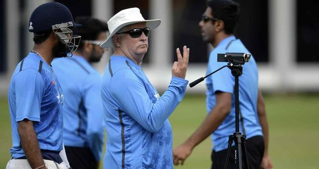 India's coach Duncan Fletcher gestures during a training session before Thursday's second test against England at Lord's cricket ground in London July 15, 2014. REUTERS/Philip Brown