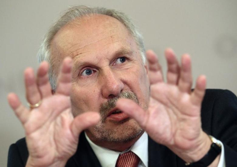 European Central bank policymaker and head of the Austrian National Bank Ewald Nowotny addresses a news conference in Vienna July 1, 2014.  REUTERS/Heinz-Peter Bader