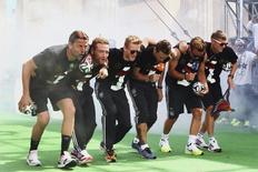 Jogadores da Alemanha durante a comemoração pela conquista do título mundial, em Berlim. 15/07/2014  REUTERSAlex Grimm/Pool