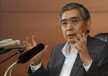Bank of Japan Governor Haruhiko Kuroda speaks during a news conference at the BOJ headquarters in Tokyo, June 13, 2014. REUTERS/Yuya Shino