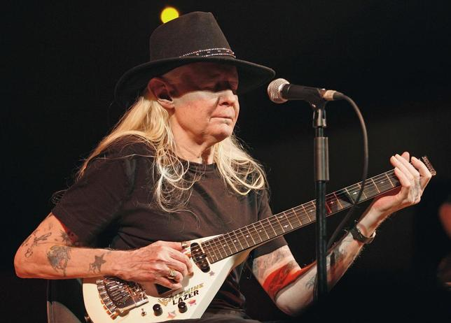 Legendary blues guitarist Johnny Winter performs on stage during a concert at the Valencia Jazz Festival in this file photo taken July 19, 2008. Winter died in Zurich on Wednesday at the age of 70, according to news reports.  REUTERS/Heino Kalis/Files