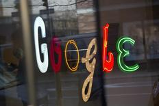 The Google signage is seen at the company's offices in New York January 8, 2013.  REUTERS/Andrew Kelly