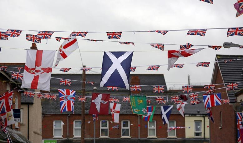 The national flag of Scotland  (C) flies amongst other flags in a street in East Belfast July 5, 2014.     REUTERS/Cathal McNaughton
