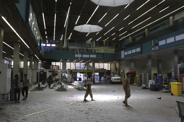 The inside of a damaged terminal is seen after a shelling at Tripoli International Airport July 17, 2014.  REUTERS/Hani Amara