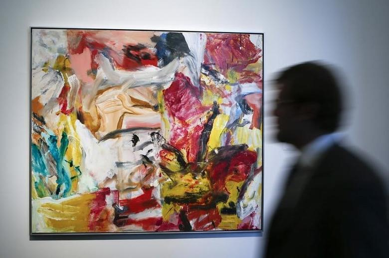 A man walks past ''Untitled'' by Willem De Kooning during a preview of Sotheby's impressionist and modern art evening sale in New York, May 2, 2014. REUTERS/Eduardo Munoz