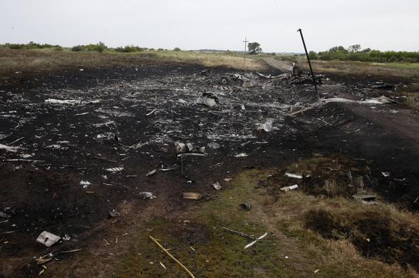 Debris is pictured at the site of Thursday's Malaysian Airlines Boeing 777 plane crash, near the village of Grabovo in the Donetsk region July 18, 2014.REUTERS-Stringer