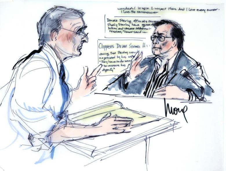 Bert Fields, Shelly Sterling's lawyer, (L) questions husband, Los Angeles Clippers co-owner Donald Sterling, in court, as seen in this courtroom sketch in Los Angeles, California July 8, 2014. REUTERS/Mona S. Edwards