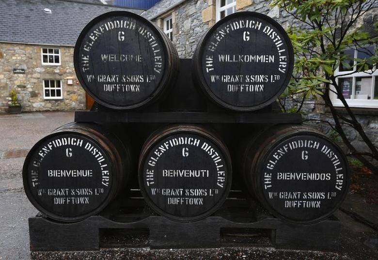 The word welcome is shown in different languages on the lids of casks at the Glenfiddich  whisky distillery in Dufftown, Scotland January 13, 2013.   REUTERS/David Moir