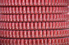 Coca Cola cans are seen at a concession inside the Dunas arena soccer stadium in Natal, June 12 , 2014.  REUTERS/Dylan Martinez