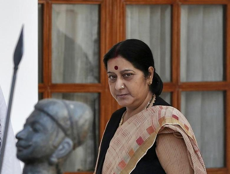 Foreign Minister Sushma Swaraj arrives to attend a meeting in New Delhi May 27, 2014. REUTERS/Adnan Abidi/Files